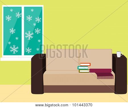 Comfortable room with a sofa and a window with snowflakes. Vector illustration