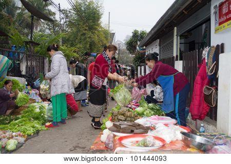 Morning Food Market Street in Luang Prabang
