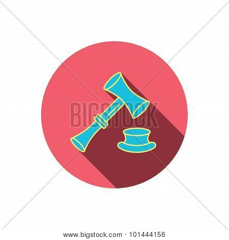 Auction hammer icon. Justice and law sign.