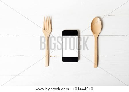 Spoon And Smart Phone Concept Eating Social