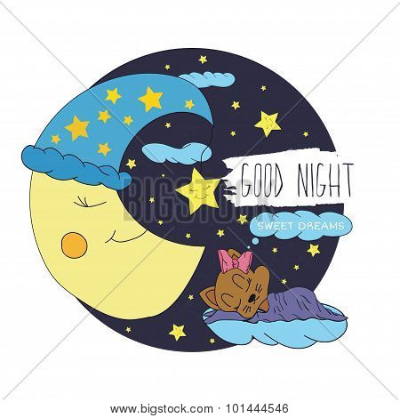 Cartoon illustration of hand drawing of a smiling moon, the stars and sleeping babies wishing good n