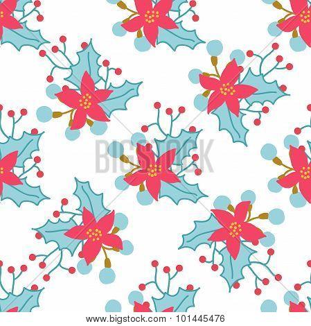 Seamless Christmas And New Year Pattern With Cute Winter Flowers