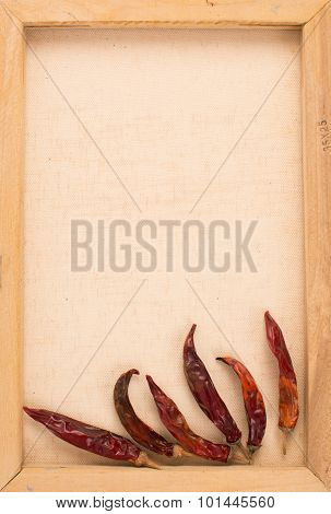 Vintage Image Of Dried Red Chillies On The Canvas Frame