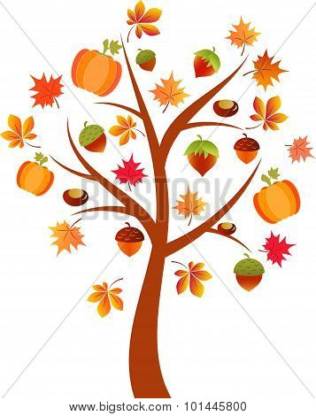 Fall Tree Vector,  Pumkin Tree, Autumn Tree