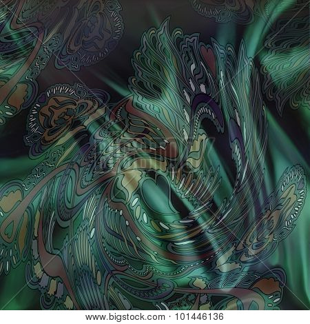 Floral Pattern On Dark Green Background, textile