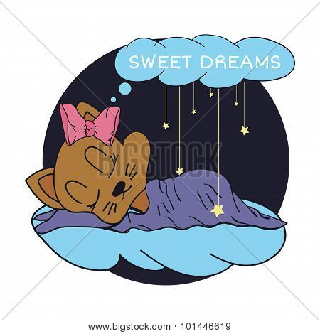 Cartoon illustration of hand drawing  the stars and sleeping baby sweet dreams in the starry sky. Ve
