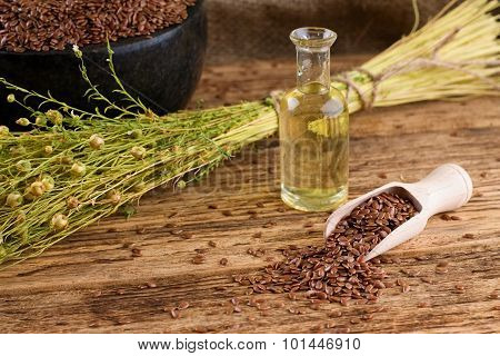 Flax Seeds In Spoon And Flax Oil In Bottle