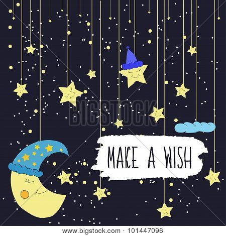 Cartoon illustration of hand drawing of a smiling moon and a falling bright stars. Make a wish. Vect