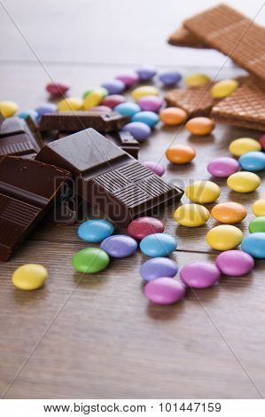 Pieces Of Bitter Chocolate With Other Sweets