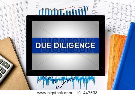 Due Diligence Word On Tablet