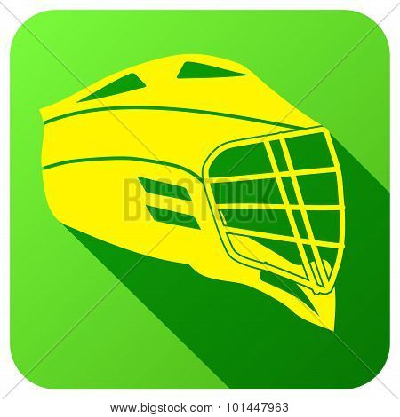 Sport icon with american lacrosse in flat style. Vector illustration.