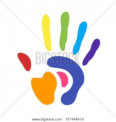 rainbow handprint. rainbow colors of a human hand and fingers