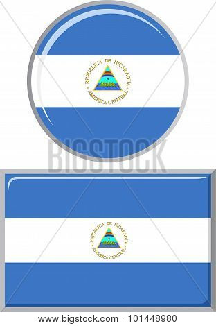 Nicaraguan round and square icon flag. Vector illustration.
