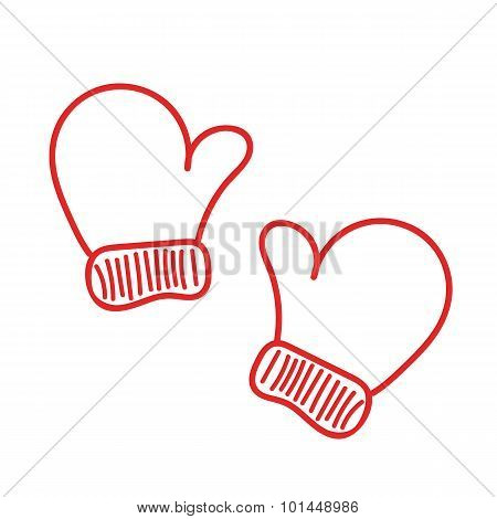 Hand drawn isoladed red warm mittens