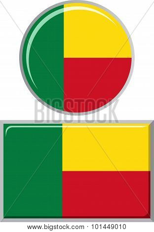 Benin round and square icon flag. Vector illustration.