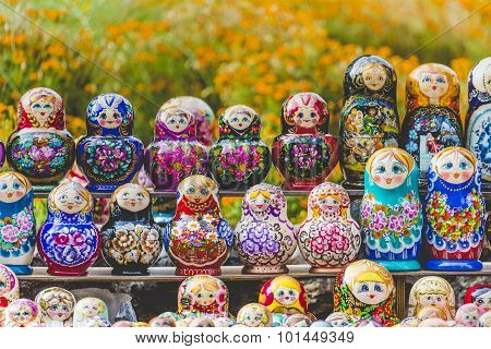 Matryoshkas In Souvenir Shop In Riga, Latvia.