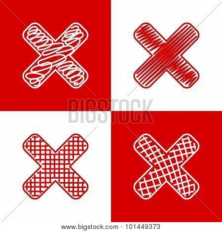 Set of hand drawn crosses