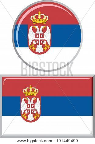 Serbian round and square icon flag. Vector illustration.