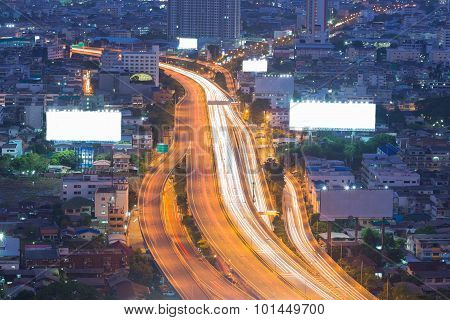 Long exposure of city expressway during busy hours