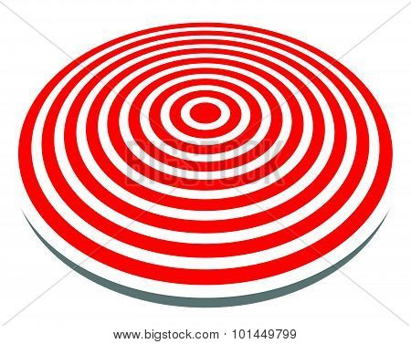 3D, Red Target Isolated On White. Objective, Accuracy, Precise Concepts.