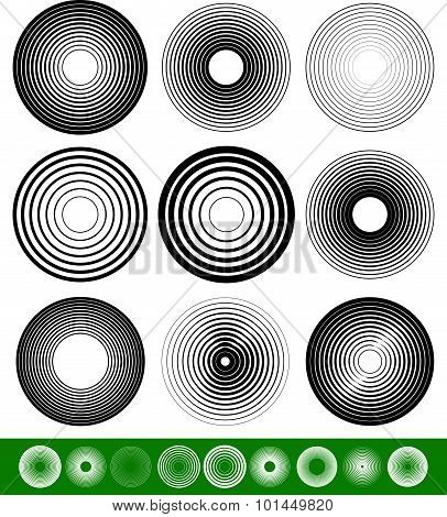 Abstract Blended Circle Element Set. Vector Illustration.