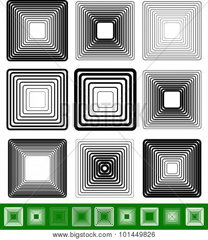 Abstract Blended Square Element Set. Vector Illustration.