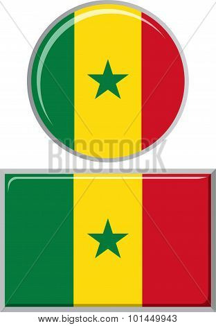 Senegalese round and square icon flag. Vector illustration.