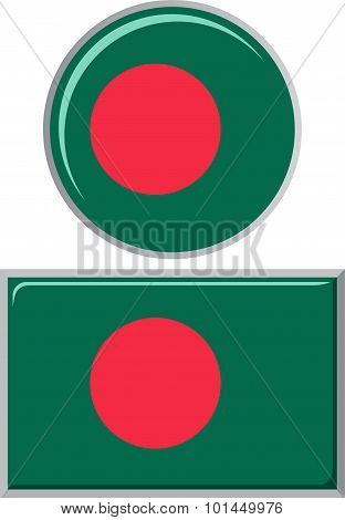Bangladeshi round and square icon flag. Vector illustration.