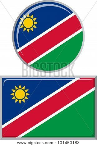 Namibian round and square icon flag. Vector illustration.