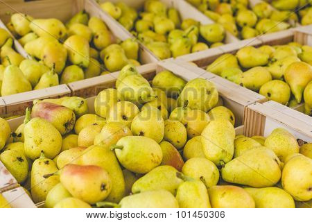 Fresh Bartlett Pears On Display At The Farmer's Market