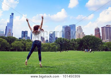 Girl Jump In The Central Park Of New York
