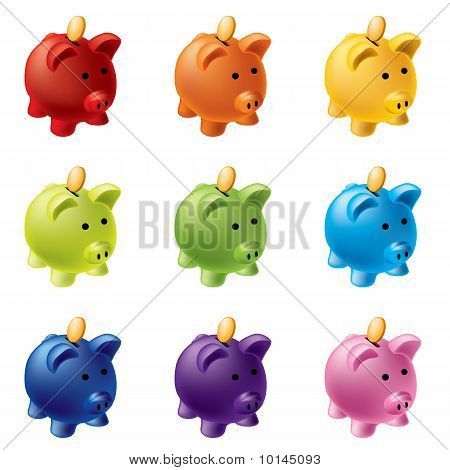 piggy banks in different colours