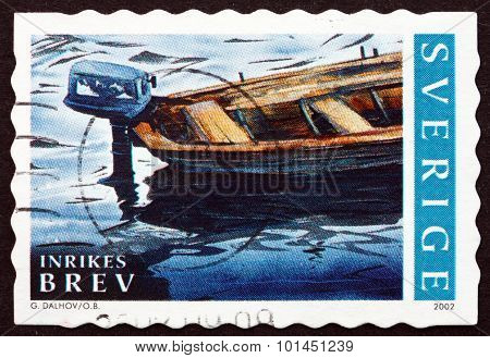 Postage Stamp Sweden 2002 Boat With Outboard Motor