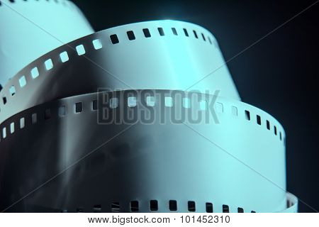 Negative Reel Of Film On A Dark Background