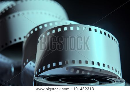 Negative Reel Of Film On A Dark Background.