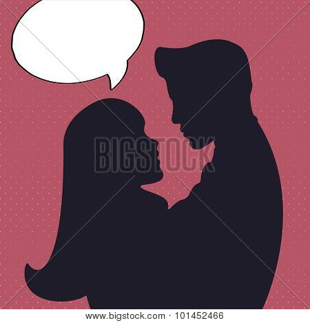 Romantic silhouette with man and woman in comics style.
