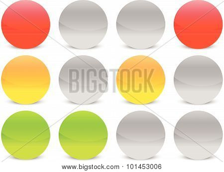 Traffic Lights, Lamps In Sequence. Vector Illustration.