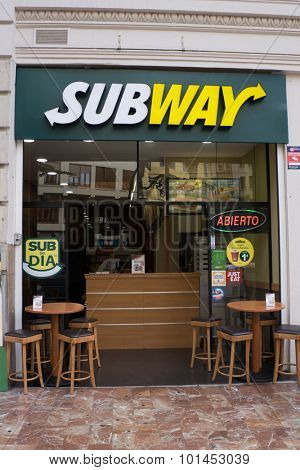 VALENCIA, SPAIN - SEPTEMBER 12, 2015: A Subway fast food restaurant in downtown Valencia. Subway is the largest restaurant operator in the world with 44,222 restaurants in 110 countries.