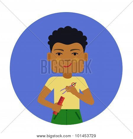 Schoolboy with ruler and compasses