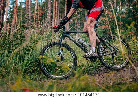 Mountainbiker in mountains by downhill