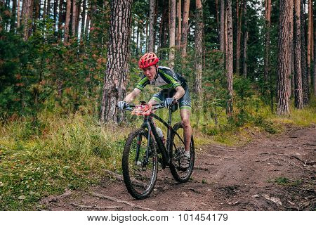 biker in mountains by downhill