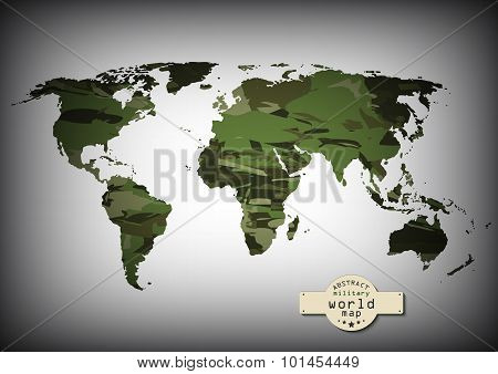 Camouflage military world map. Vector illustration, EPS10