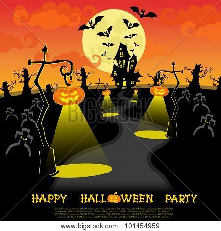 Halloween banner. Landscape with lamps from pumkins, bats and scary house for party on big moon back