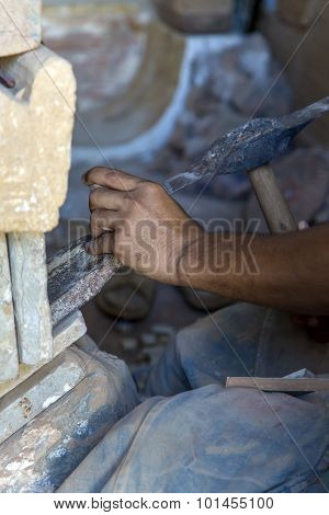 Stone Carving In Rabat, Morocco