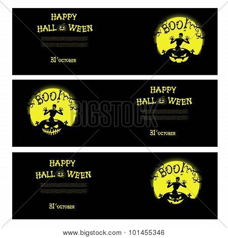 Vector Halloween banners with zombie, pumpkin, scary trees, graves and moon