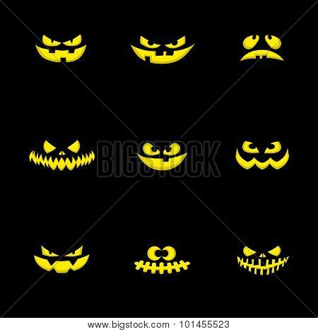Set nine design elements: halloween pumpkins scary face. Vector