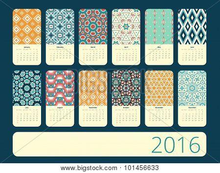 Calendar 12 months.  Geometric vintage pattern.