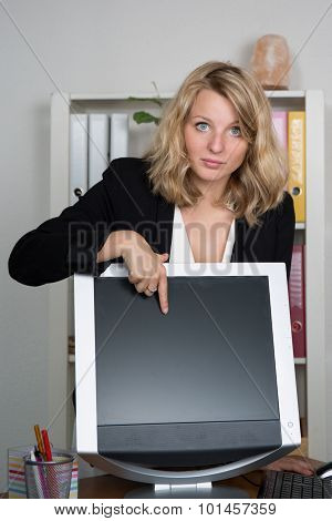 Young Blonde Business Woman Presenting Screen Of Computer