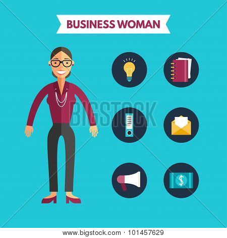 Flat Design Vector Illustration Of Business Woman With Icon Set