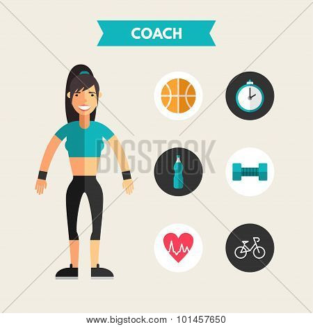 Flat Design Vector Illustration Of Coach With Icon Set